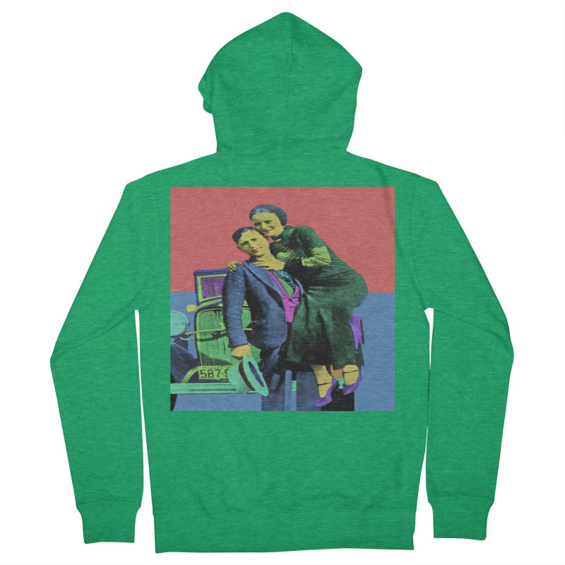 Bonnie and Clyde Pop Art Men's Zip-Up Hoody by Matthew Lacey-icarusismartdesigns