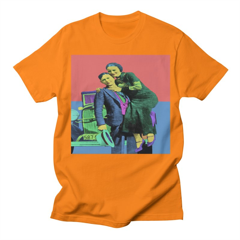 Bonnie and Clyde Pop Art Men's T-Shirt by Matthew Lacey-icarusismartdesigns