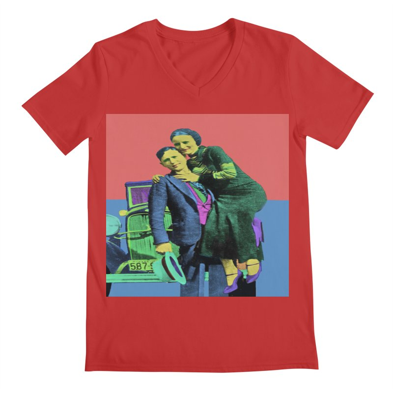 Bonnie and Clyde Pop Art Men's V-Neck by Matthew Lacey-icarusismartdesigns