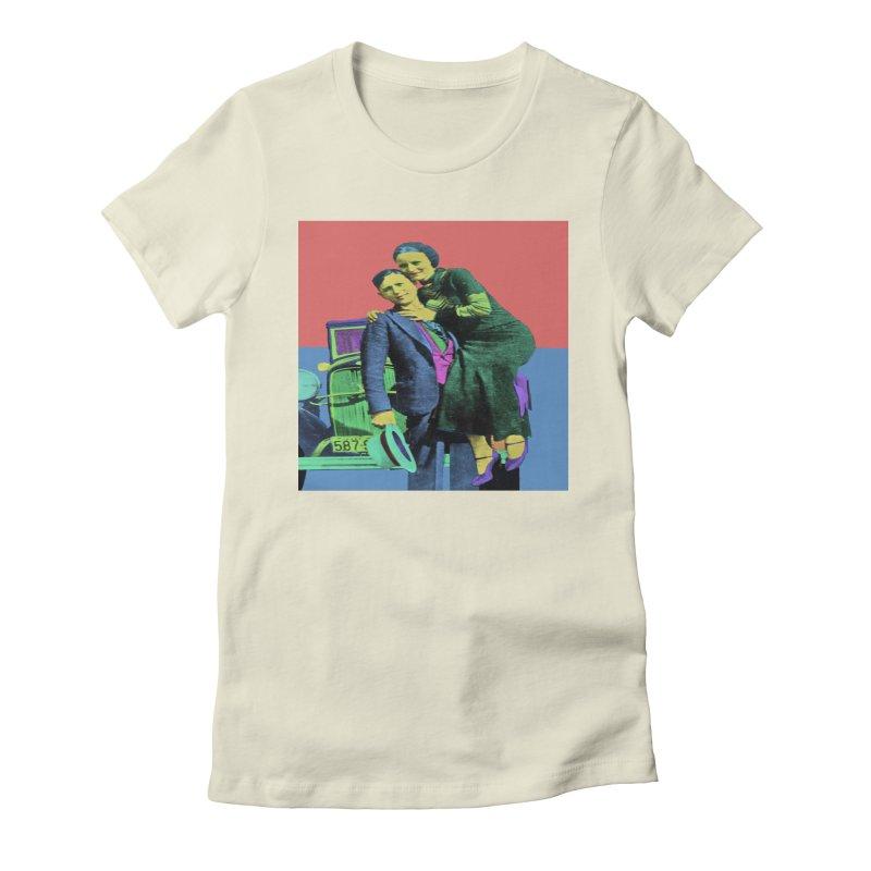 Bonnie and Clyde Pop Art Women's T-Shirt by Matthew Lacey-icarusismartdesigns