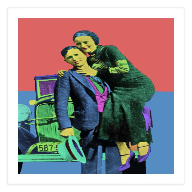 Bonnie and Clyde Pop Art Home Fine Art Print by Matthew Lacey-icarusismartdesigns