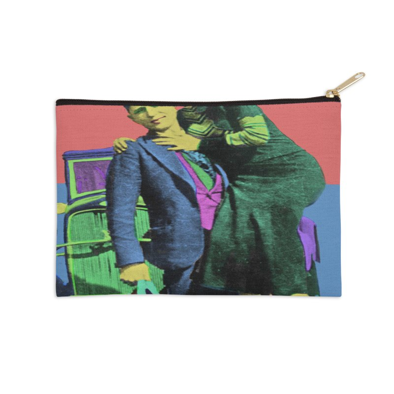 Bonnie and Clyde Pop Art Accessories Zip Pouch by Matthew Lacey-icarusismartdesigns