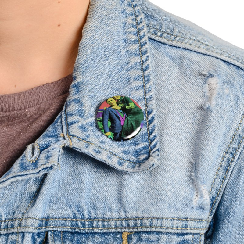 Bonnie and Clyde Pop Art Accessories Button by Matthew Lacey-icarusismartdesigns