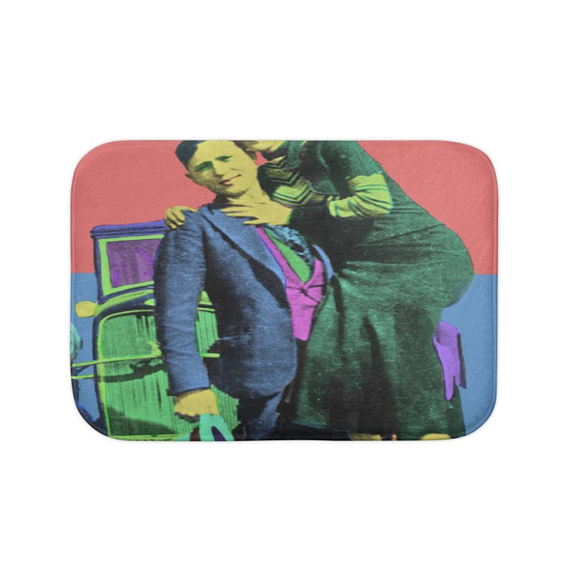Bonnie and Clyde Pop Art Home Bath Mat by Matthew Lacey-icarusismartdesigns