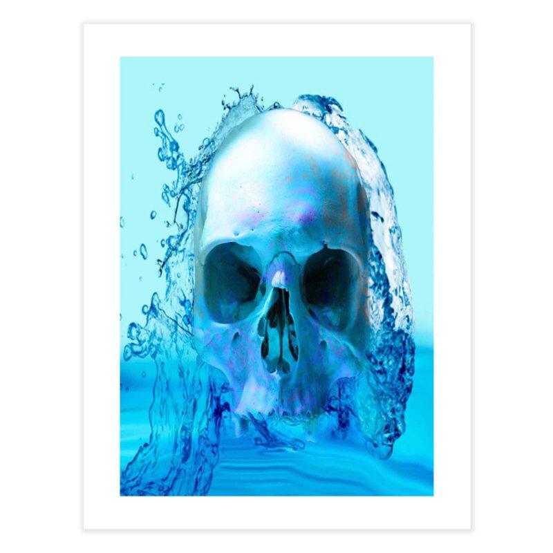 Skull in Water Home Fine Art Print by Matthew Lacey-icarusismartdesigns