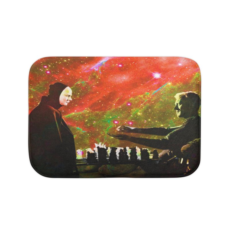 Playing chess with Death Home Bath Mat by Matthew Lacey-icarusismartdesigns
