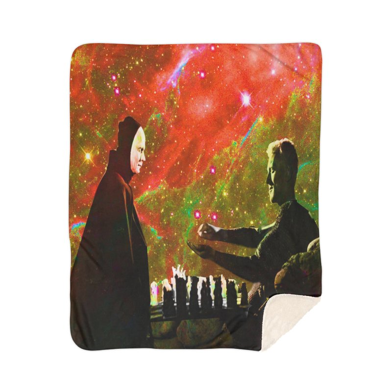 Playing chess with Death Home Blanket by Matthew Lacey-icarusismartdesigns