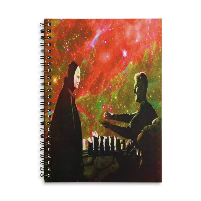 Playing chess with Death Accessories Lined Spiral Notebook by Matthew Lacey-icarusismartdesigns
