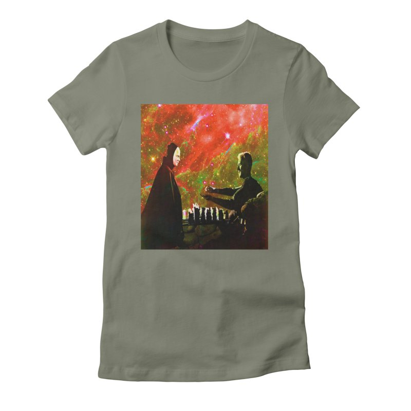 Playing chess with Death Women's T-Shirt by Matthew Lacey-icarusismartdesigns