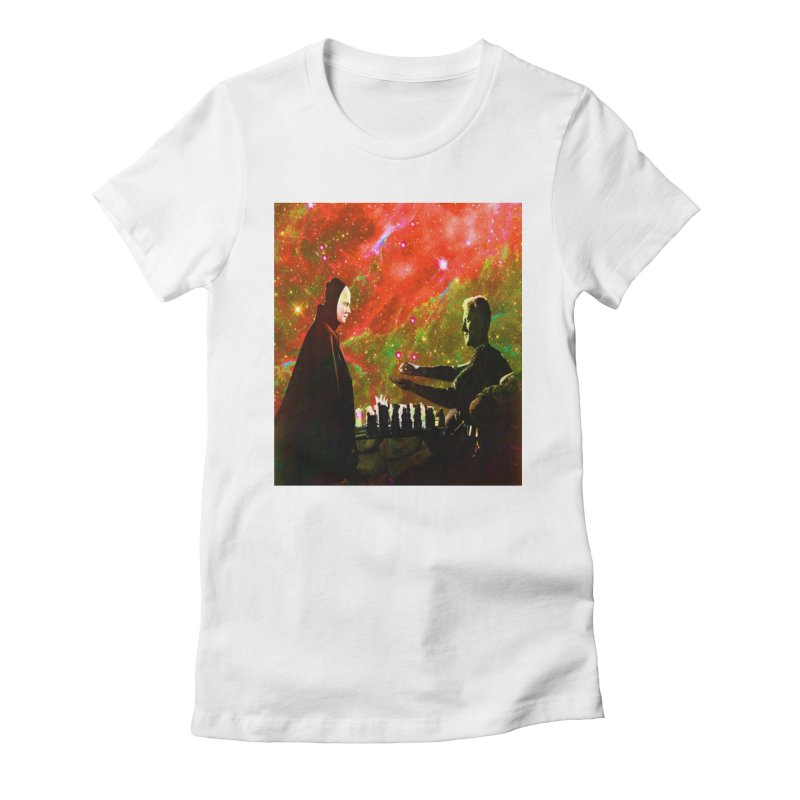 Playing chess with Death Women's Fitted T-Shirt by Matthew Lacey-icarusismartdesigns