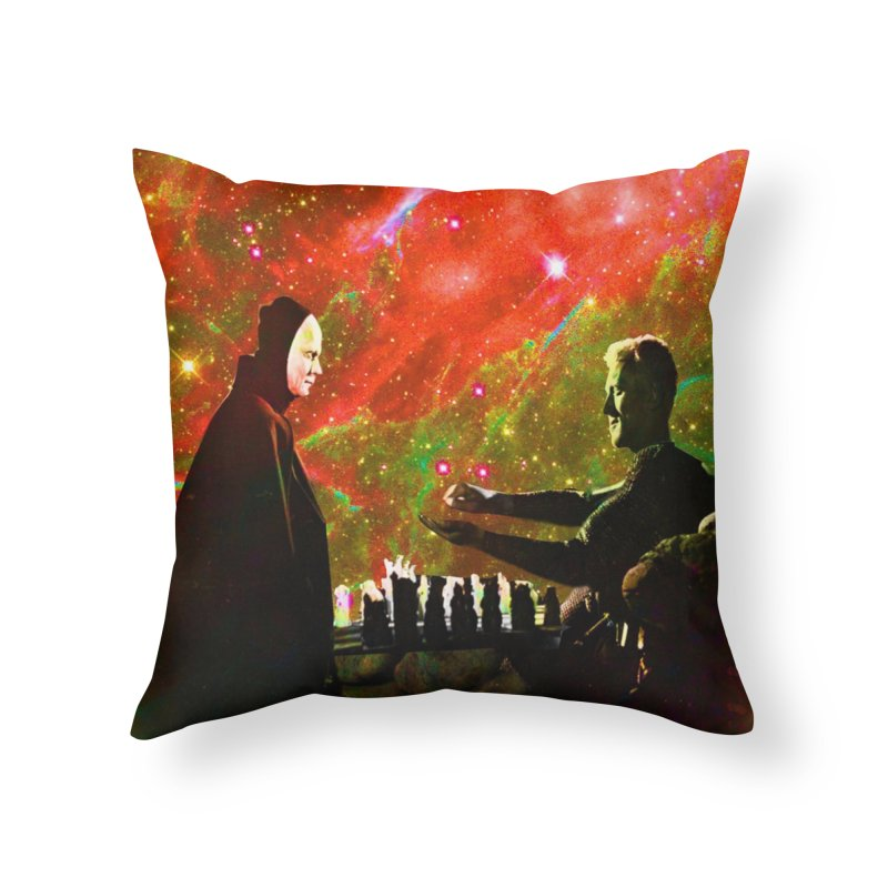 Playing chess with Death Home Throw Pillow by Matthew Lacey-icarusismartdesigns