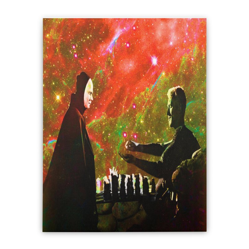 Playing chess with Death Home Stretched Canvas by Matthew Lacey-icarusismartdesigns