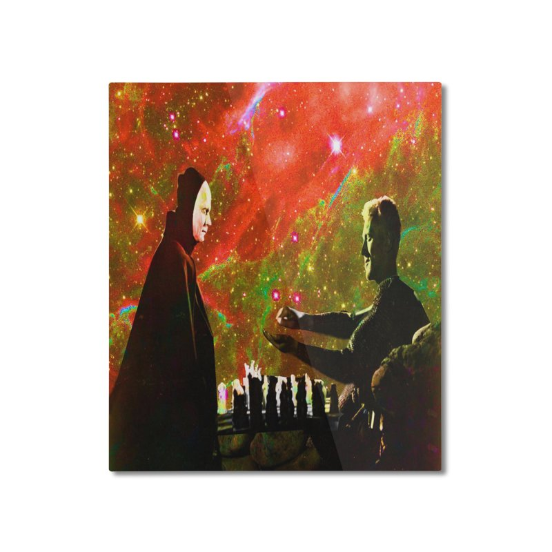 Playing chess with Death Home Mounted Aluminum Print by Matthew Lacey-icarusismartdesigns