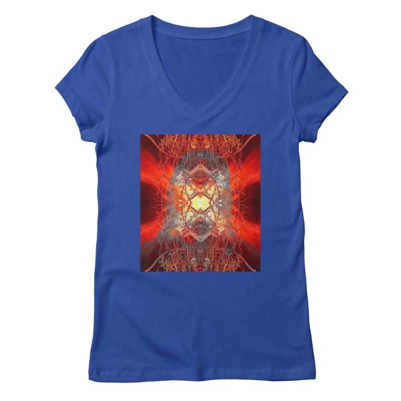Spontaneous human combustion Women's V-Neck by Matthew Lacey-icarusismartdesigns