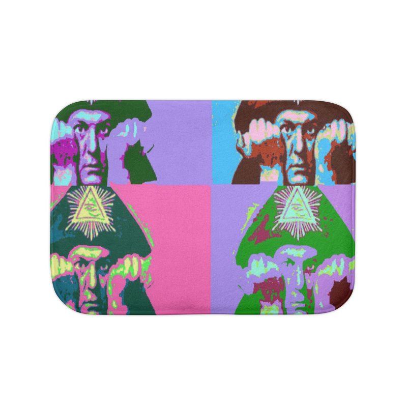 Aleister Crowley Pop Art Home Bath Mat by Matthew Lacey-icarusismartdesigns