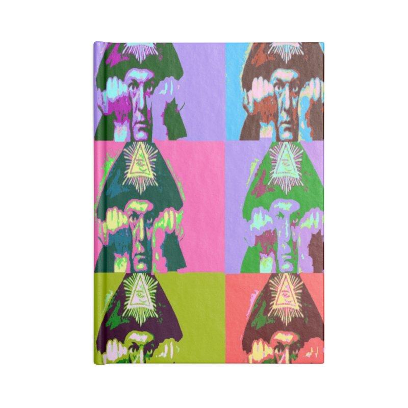 Aleister Crowley Pop Art Accessories Blank Journal Notebook by Matthew Lacey-icarusismartdesigns