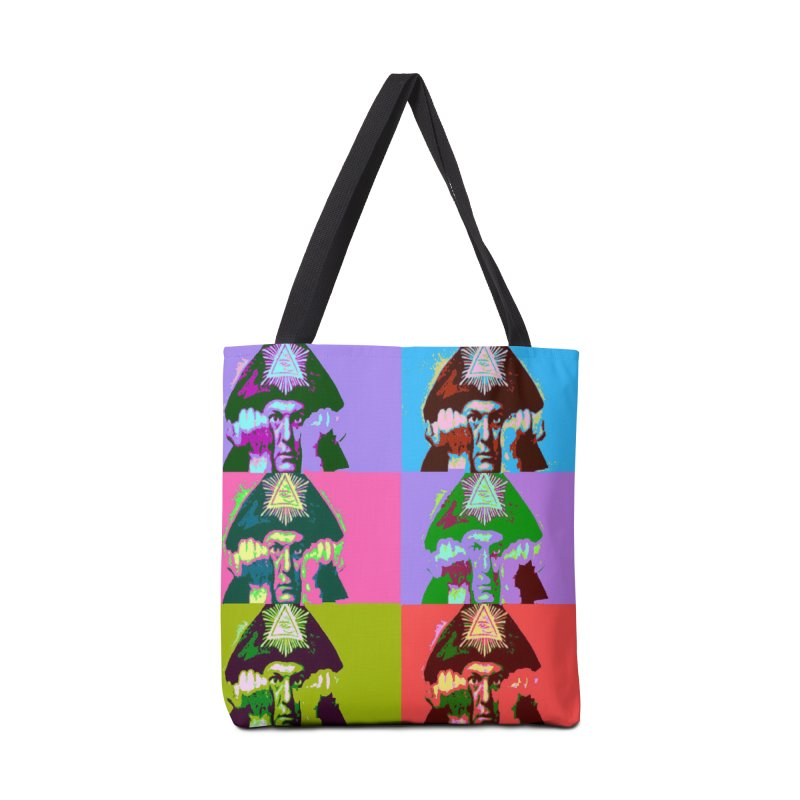 Aleister Crowley Pop Art Accessories Tote Bag Bag by Matthew Lacey-icarusismartdesigns