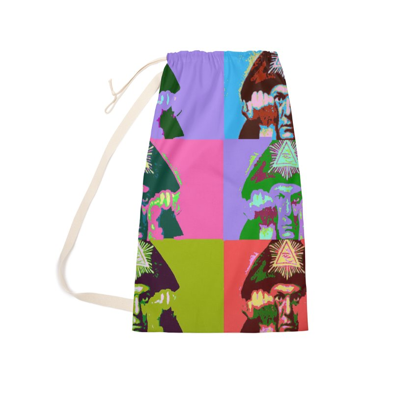 Aleister Crowley Pop Art Accessories Laundry Bag Bag by Matthew Lacey-icarusismartdesigns