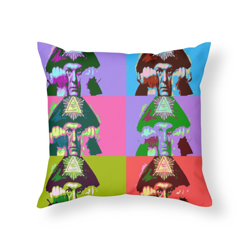 Aleister Crowley Pop Art Home Throw Pillow by Matthew Lacey-icarusismartdesigns
