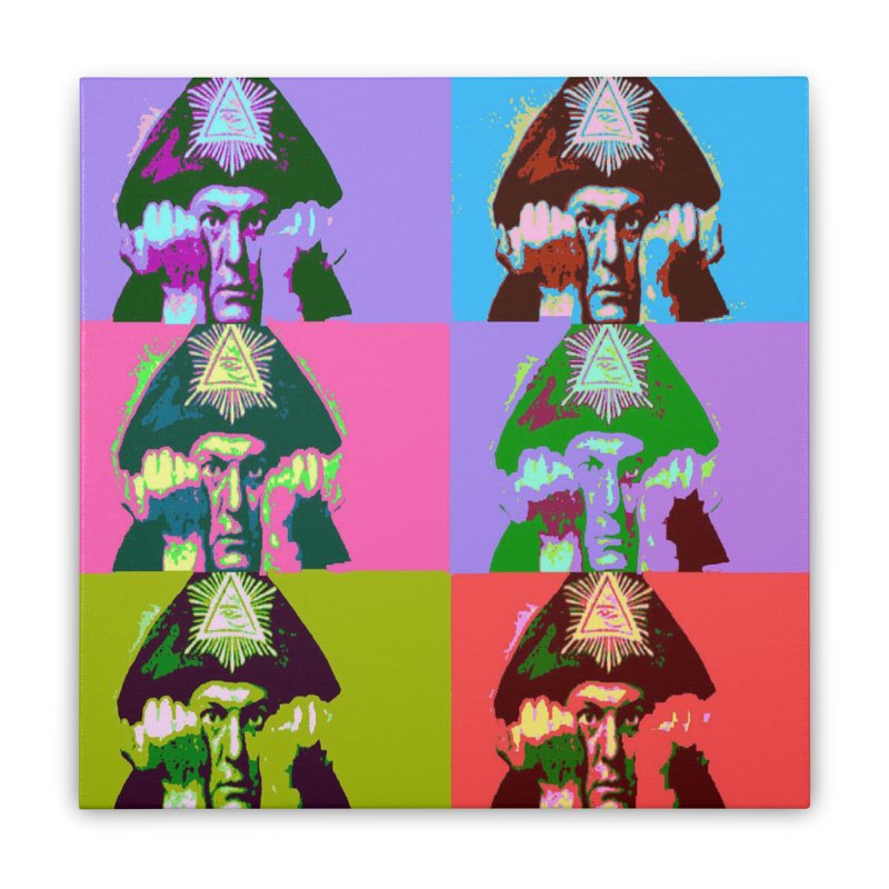 Aleister Crowley Pop Art Home Stretched Canvas by Matthew Lacey-icarusismartdesigns