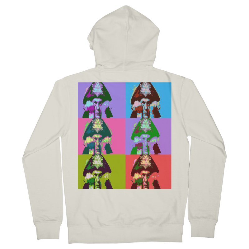 Aleister Crowley Pop Art Women's French Terry Zip-Up Hoody by Matthew Lacey-icarusismartdesigns