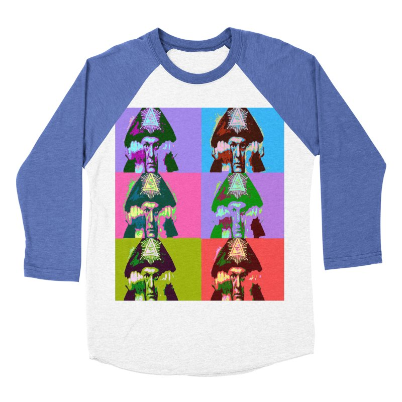 Aleister Crowley Pop Art Women's Baseball Triblend Longsleeve T-Shirt by Matthew Lacey-icarusismartdesigns