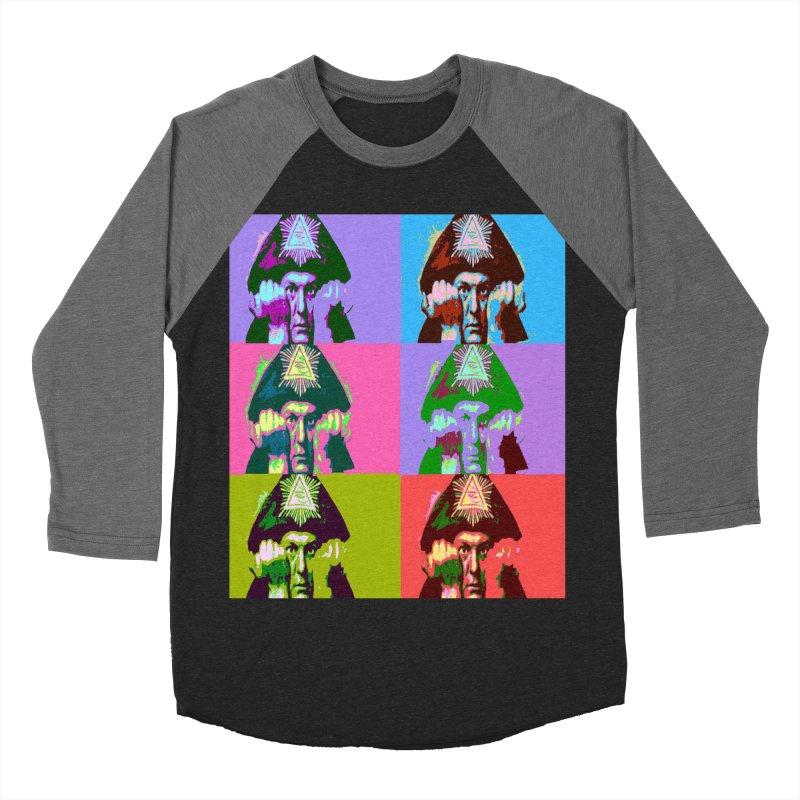 Aleister Crowley Pop Art Men's Baseball Triblend Longsleeve T-Shirt by Matthew Lacey-icarusismartdesigns