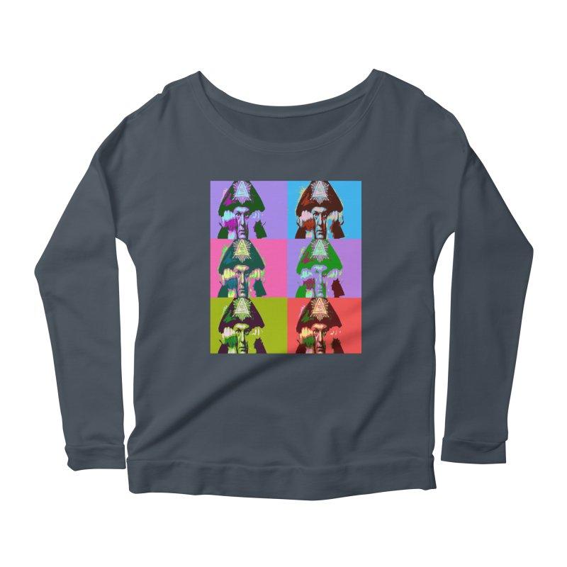 Aleister Crowley Pop Art Women's Scoop Neck Longsleeve T-Shirt by Matthew Lacey-icarusismartdesigns