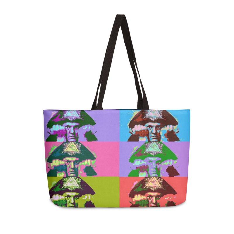 Aleister Crowley Pop Art Accessories Weekender Bag Bag by Matthew Lacey-icarusismartdesigns