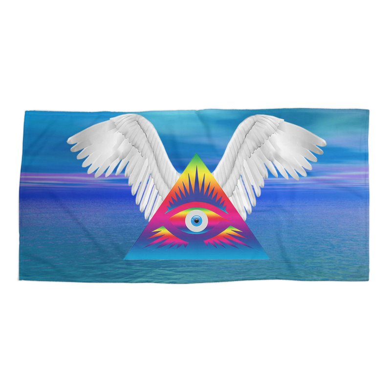 Third Eye with Wings Accessories Beach Towel by Matthew Lacey-icarusismartdesigns