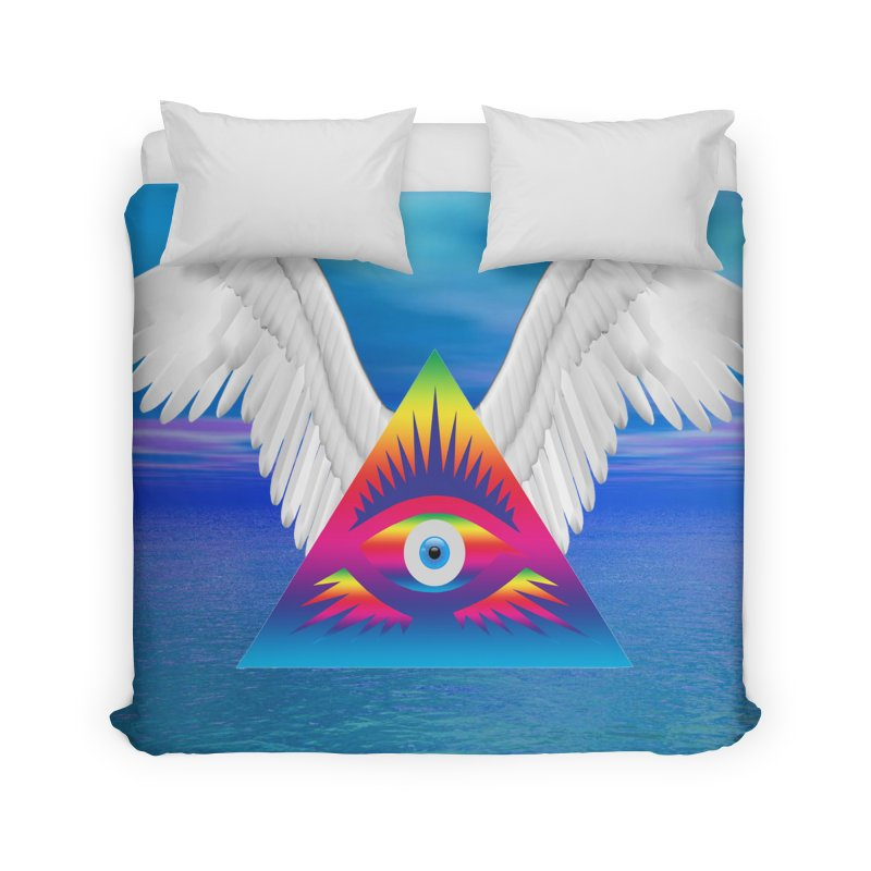 Third Eye with Wings Home Duvet by Matthew Lacey-icarusismartdesigns