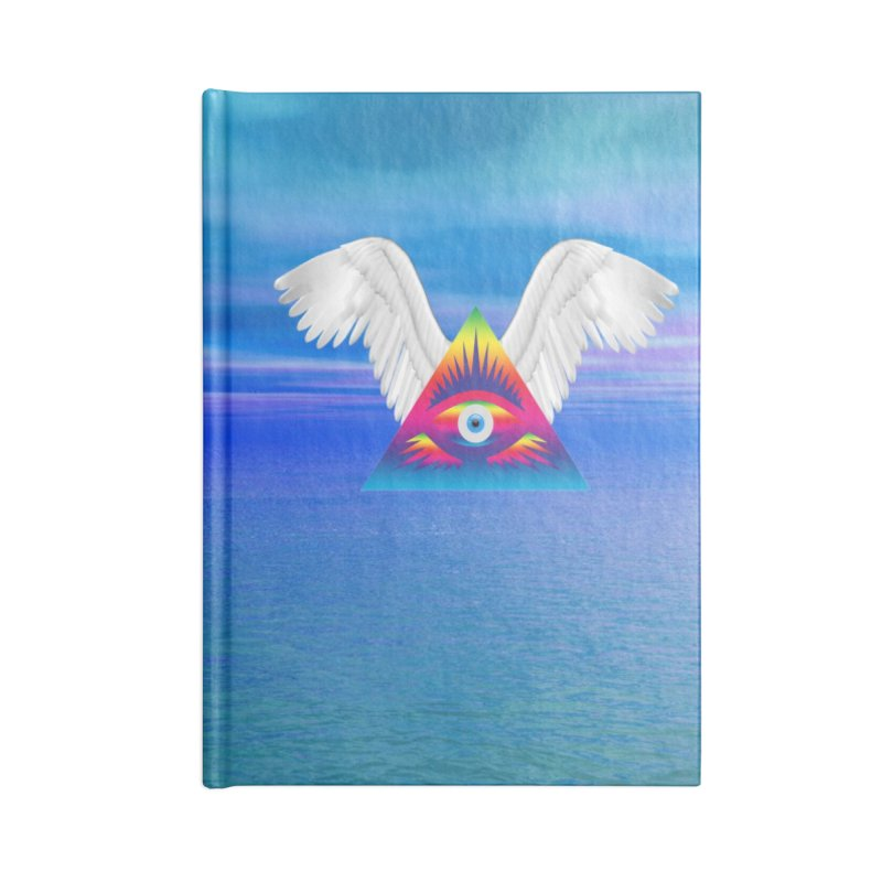 Third Eye with Wings Accessories Lined Journal Notebook by Matthew Lacey-icarusismartdesigns