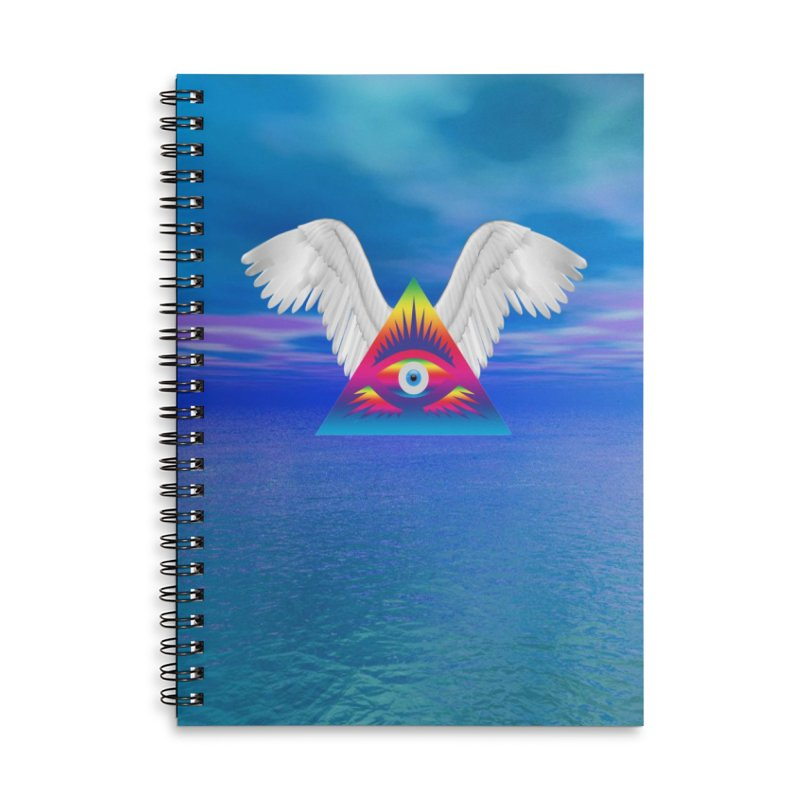 Third Eye with Wings Accessories Lined Spiral Notebook by Matthew Lacey-icarusismartdesigns