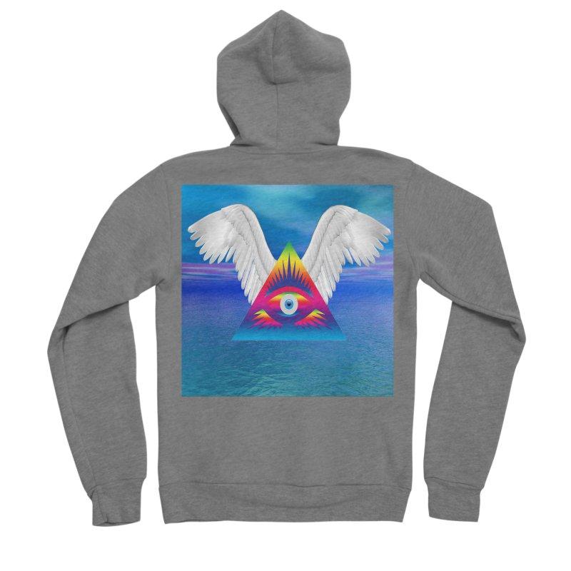 Third Eye with Wings Women's Sponge Fleece Zip-Up Hoody by Matthew Lacey-icarusismartdesigns