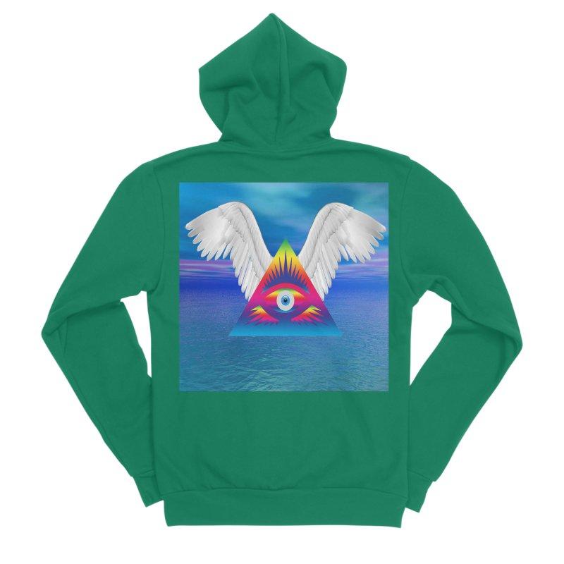 Third Eye with Wings Men's Sponge Fleece Zip-Up Hoody by Matthew Lacey-icarusismartdesigns