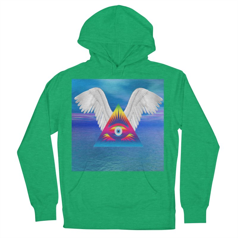 Third Eye with Wings Women's French Terry Pullover Hoody by Matthew Lacey-icarusismartdesigns