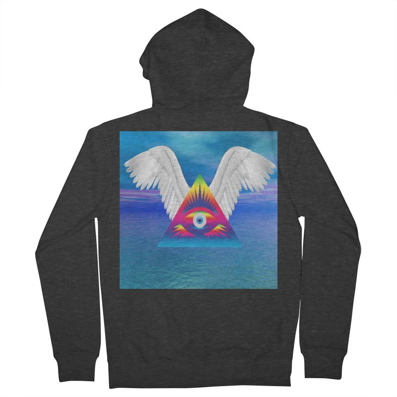 Third Eye with Wings Women's French Terry Zip-Up Hoody by Matthew Lacey-icarusismartdesigns