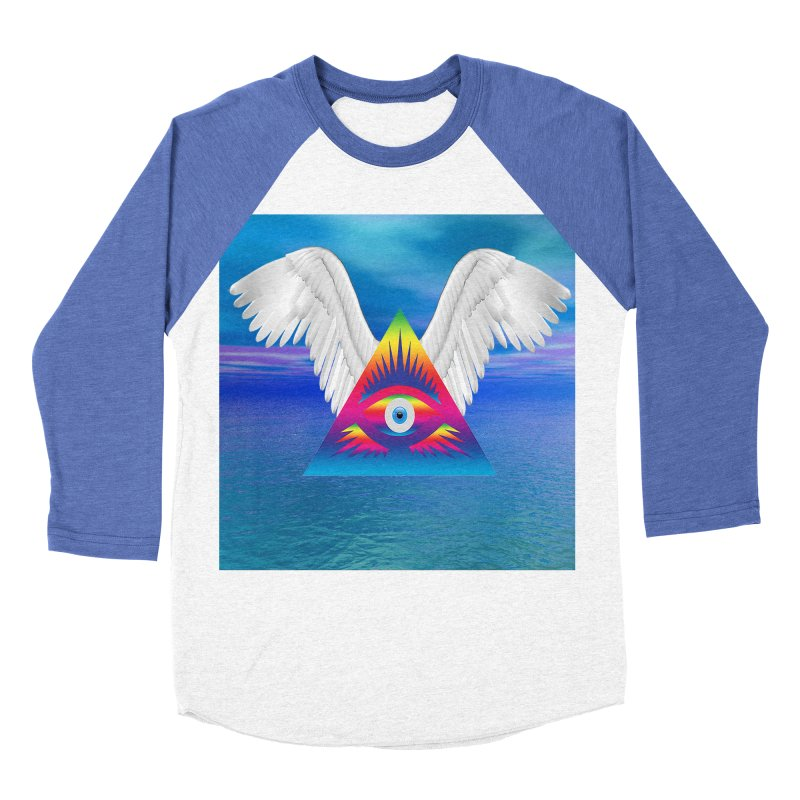 Third Eye with Wings Women's Baseball Triblend Longsleeve T-Shirt by Matthew Lacey-icarusismartdesigns