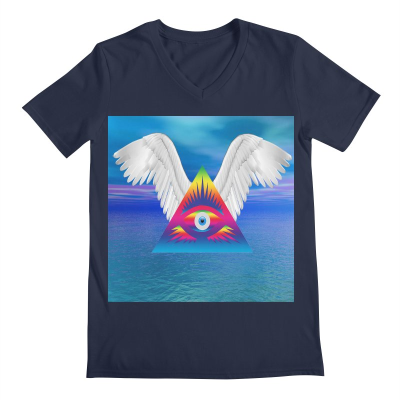 Third Eye with Wings Men's Regular V-Neck by Matthew Lacey-icarusismartdesigns