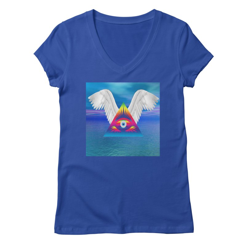 Third Eye with Wings Women's V-Neck by Matthew Lacey-icarusismartdesigns