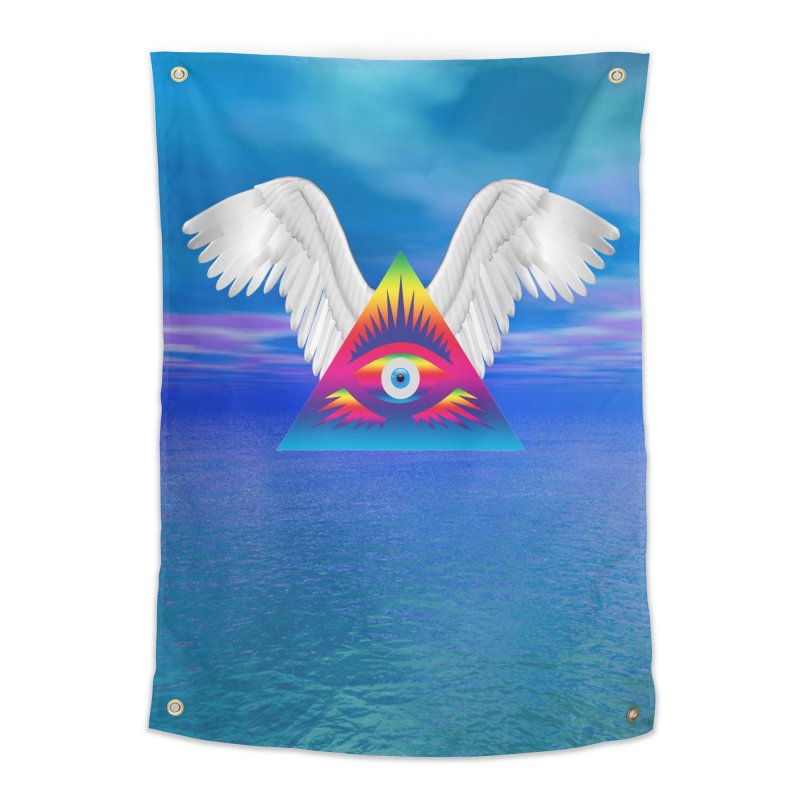 Third Eye with Wings Home Tapestry by Matthew Lacey-icarusismartdesigns