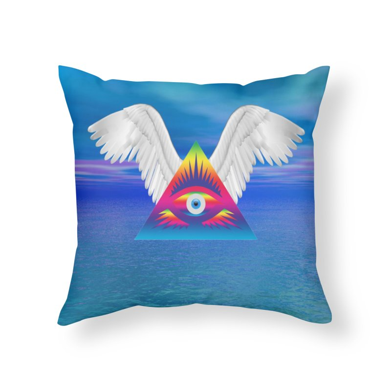 Third Eye with Wings Home Throw Pillow by Matthew Lacey-icarusismartdesigns
