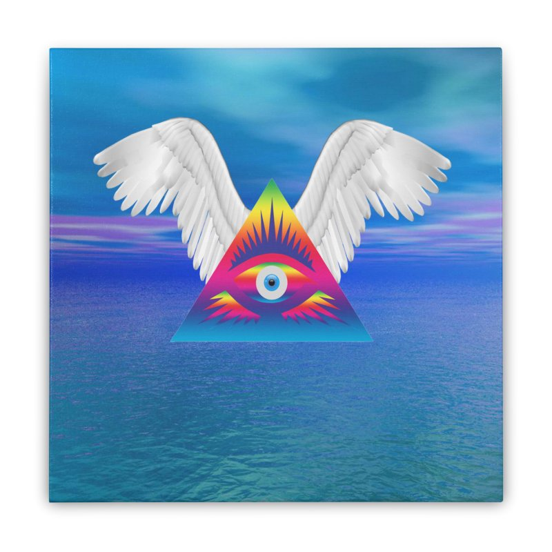 Third Eye with Wings Home Stretched Canvas by Matthew Lacey-icarusismartdesigns