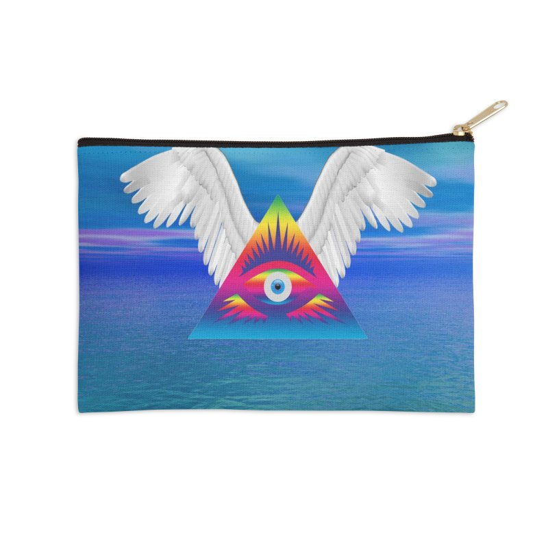 Third Eye with Wings Accessories Zip Pouch by Matthew Lacey-icarusismartdesigns