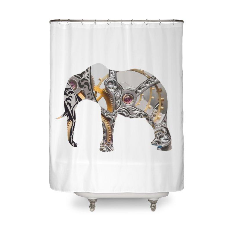 Clockwork Elephant Home Shower Curtain by Matthew Lacey-icarusismartdesigns