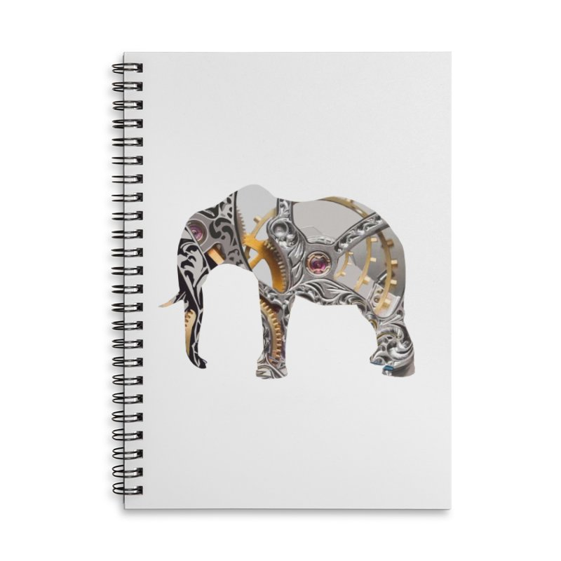 Clockwork Elephant Accessories Lined Spiral Notebook by Matthew Lacey-icarusismartdesigns