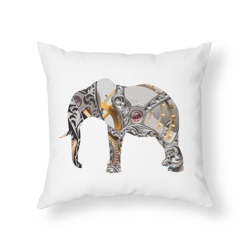 Clockwork Elephant Home Throw Pillow by Matthew Lacey-icarusismartdesigns