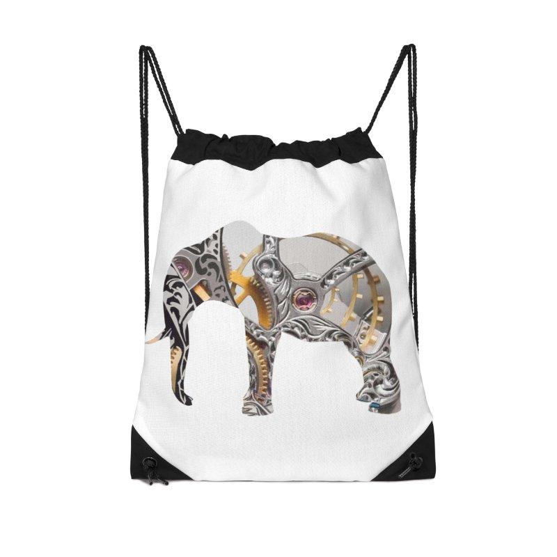 Clockwork Elephant Accessories Drawstring Bag Bag by Matthew Lacey-icarusismartdesigns