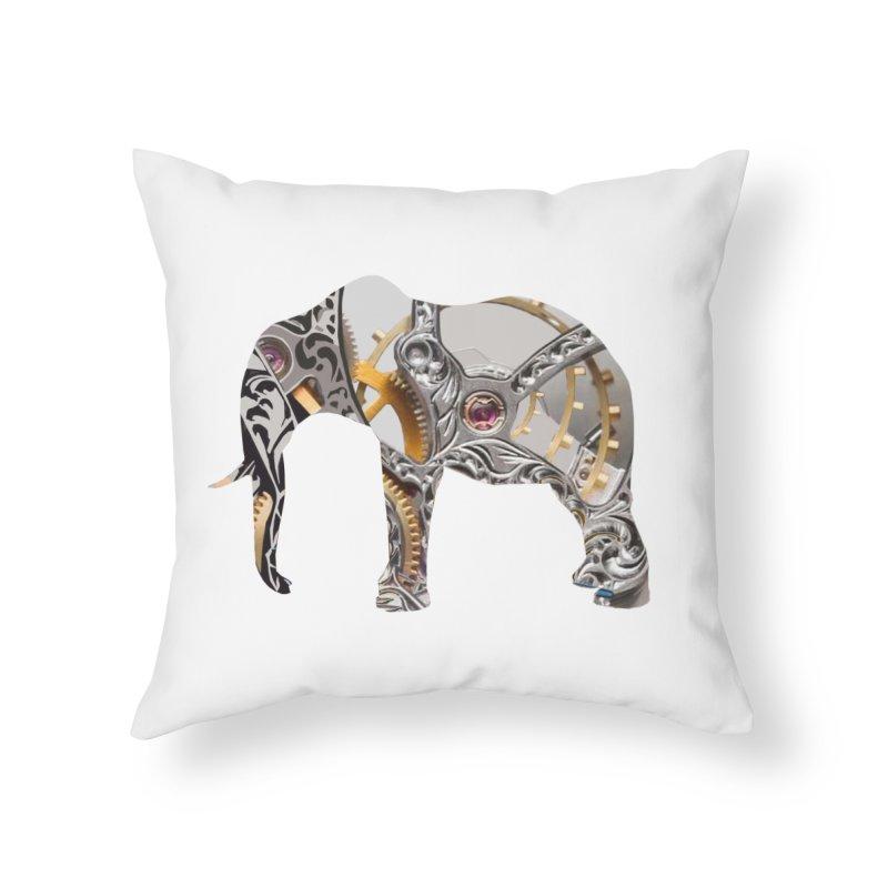 Clockwork Elephant Home Throw Pillow by Matthew Lacey-icarusismartdesigns