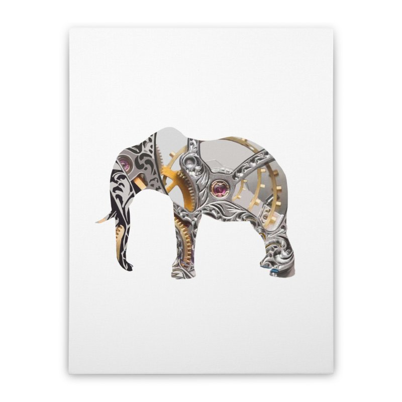 Clockwork Elephant Home Stretched Canvas by Matthew Lacey-icarusismartdesigns